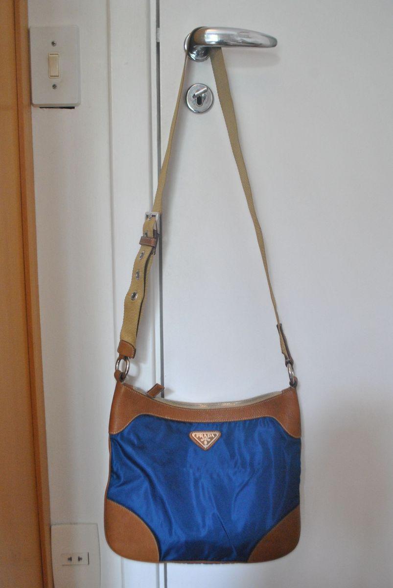 735d36986 Bolsa Tiracolo Prada, Lona Azul e Couro Caramelo, | Bolsa de Ombro ...