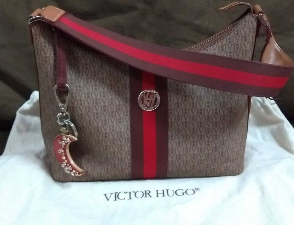 bolsa victor hugo em couro marrom e detalhes em vermelho - ombro victor hugo 8e7f83eeb7