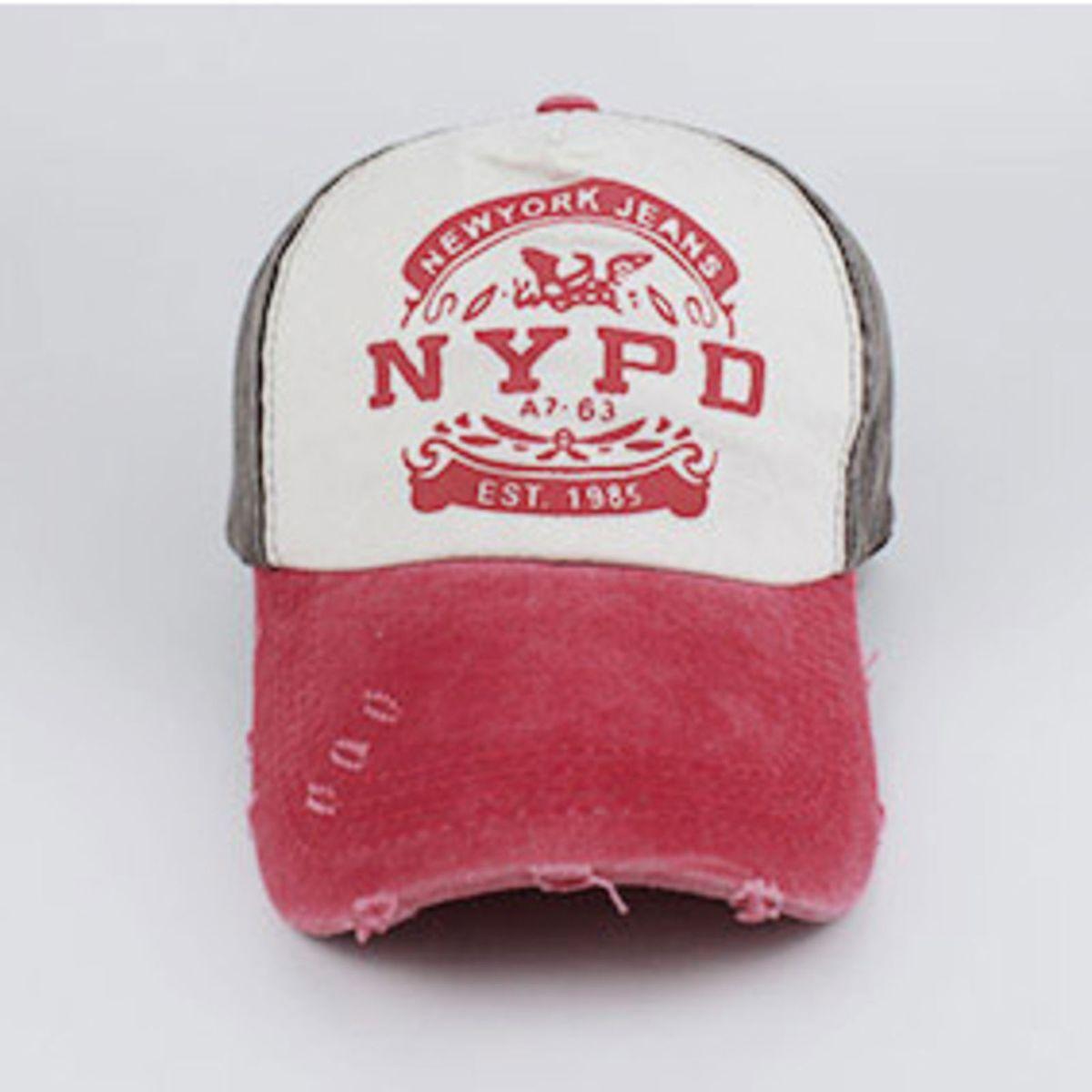 be5cdf36dfde1 Boné Aba Curva Nypd Baseball Polícia Americana Cinza Rosa Escuro 30880454