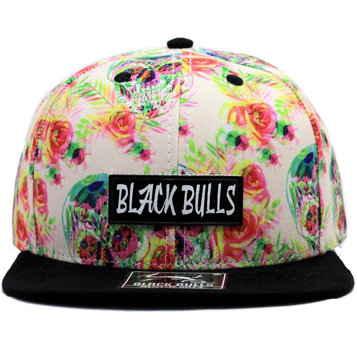 b643e924a9 boné caveira e rosas 3d estampado aba camurça snapback. - bonés black bulls