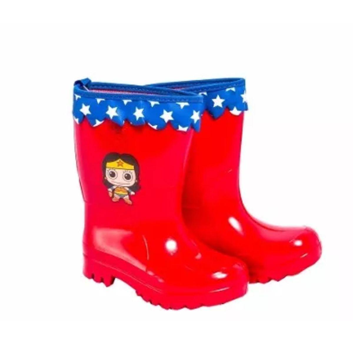 8cb40bed574 bota galocha infantil - mulher maravilha - menina sete leguas