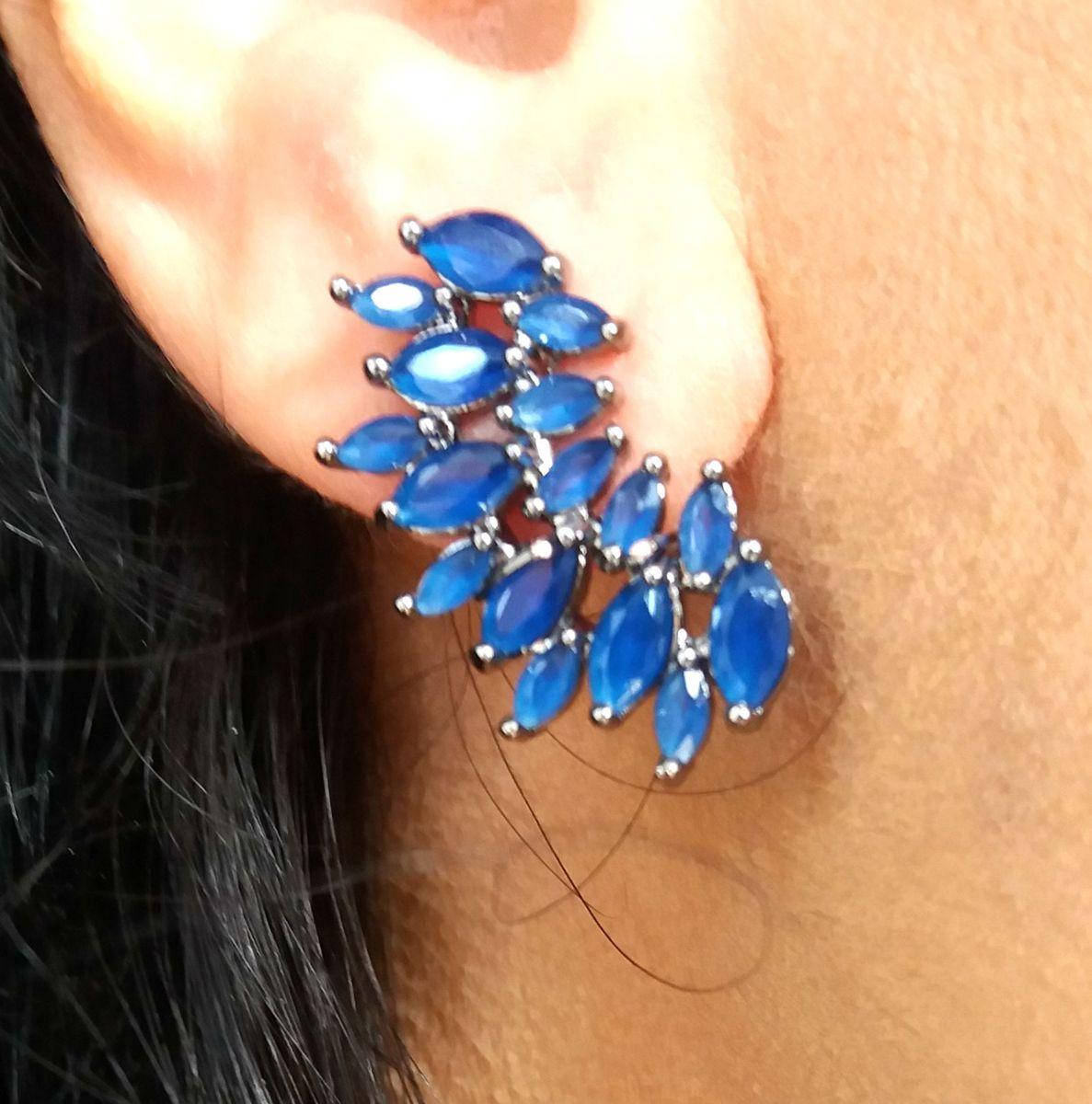 brinco ear cuff com pedra natural azul folheado em ródio negro - jóias  malaquita joias 984c548ecc