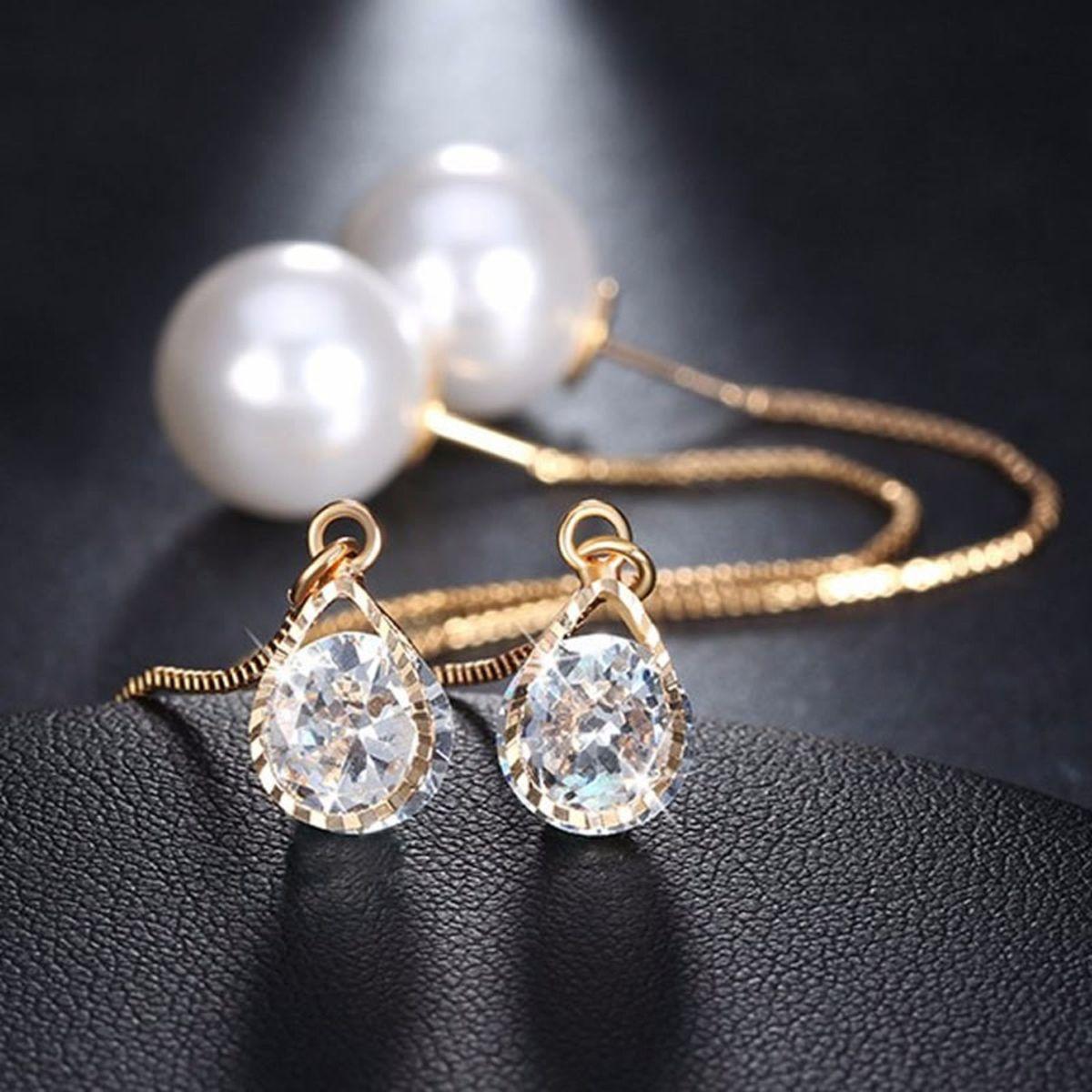 brinco feminino comprido dourado folheado ouro pérola pedra - jóias pierre  semijoias 4169d293ad