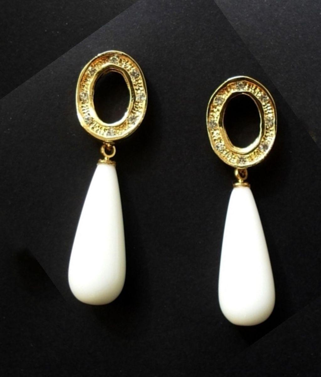 brinco luxo folheado ouro com pedra e zircônia - bijoux própria