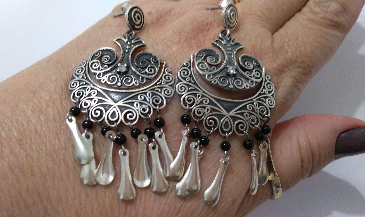 brincos de bali prata 925, ônix e zircônia - jóias joias de bali