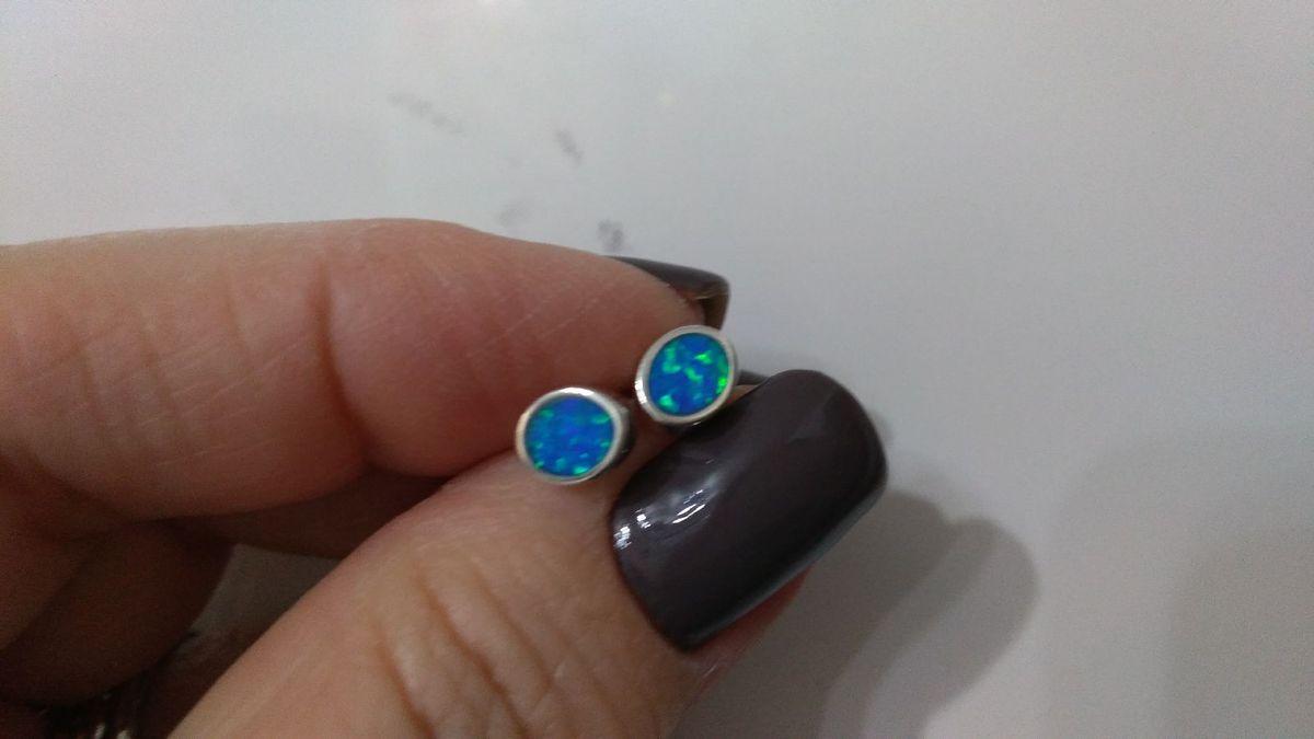 brincos pequenos de prata 925 e opalinas azuis - jóias artesanal