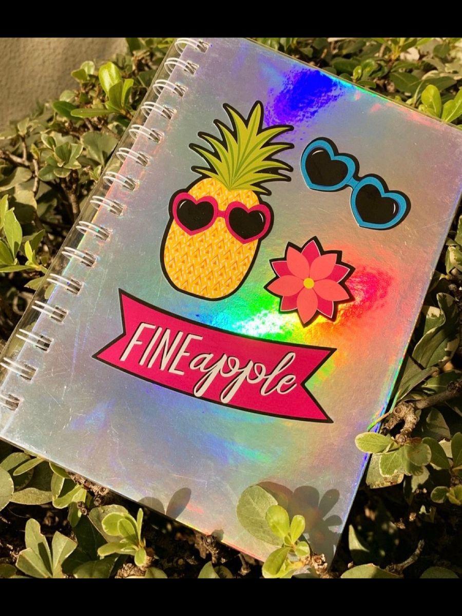caderno abacaxi - papelaria sem marca