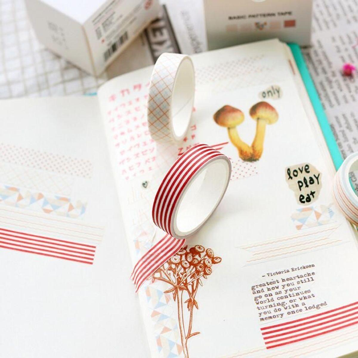 caixinha com 5 fitas adesivas decorativas - papelaria simno