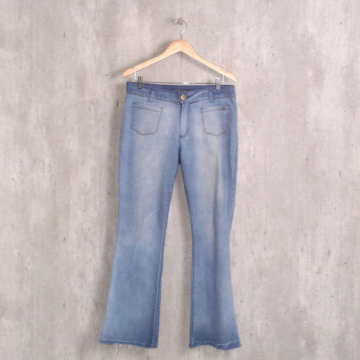 d9ed1882b Calça Azul Flare em Sarja | Calça Feminina Mokkai Usado 31008541 | enjoei