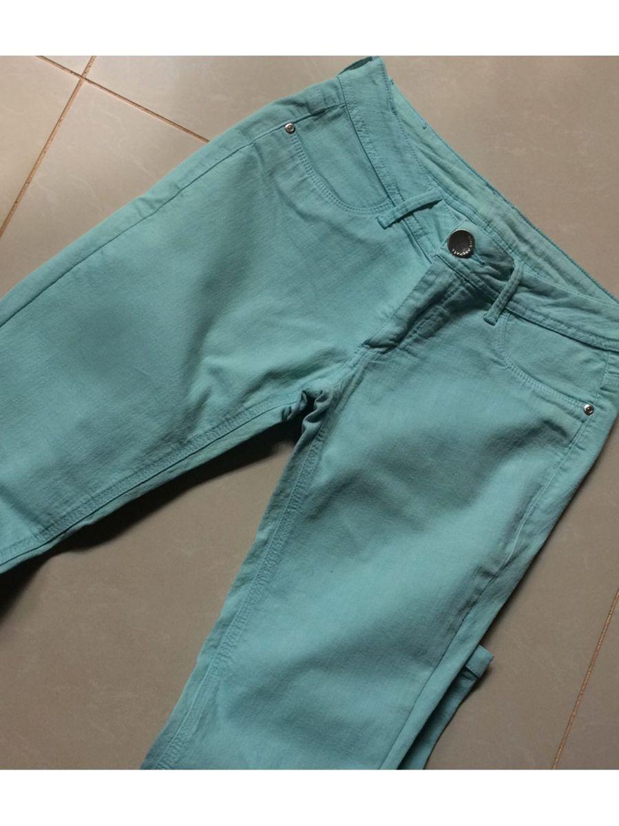 calça azul turquesa - calças sem-marca