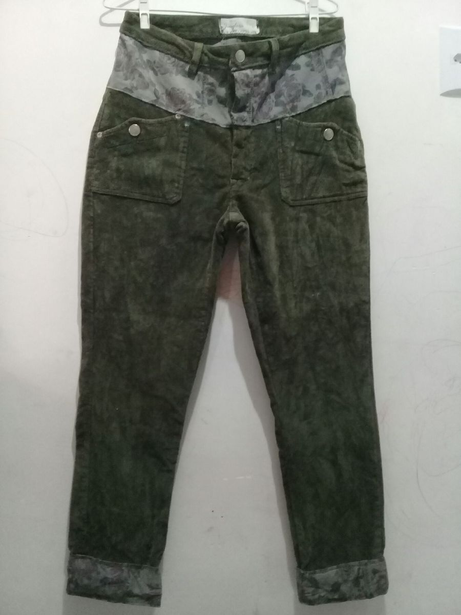 ... calça camurça verde ... - calças feito a mao