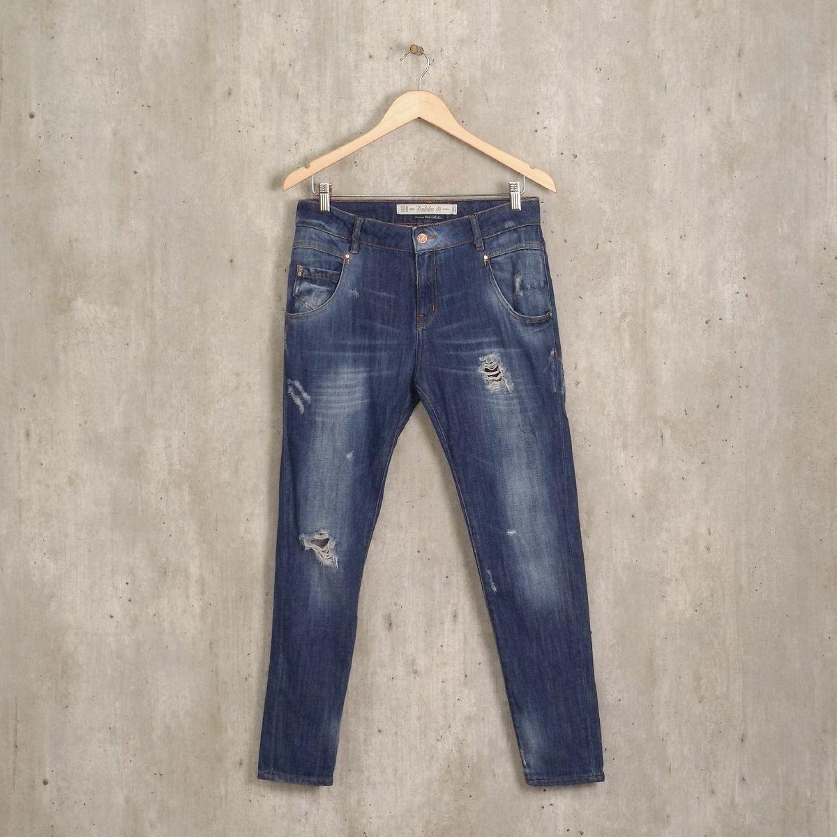 calça destroyed azul jeans zara - calças zara