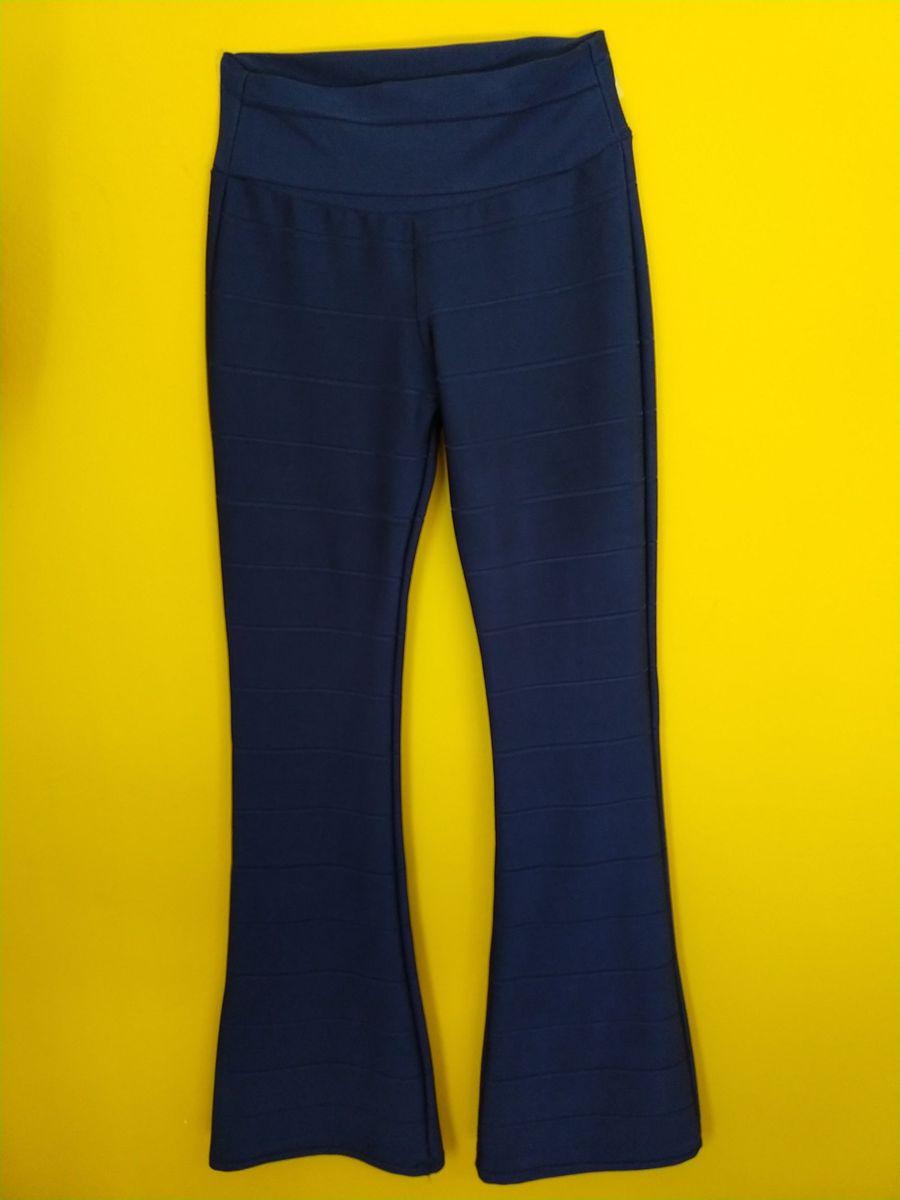 ed16f26b1d calça flare bandagem marinho brilhante - calças sem marca