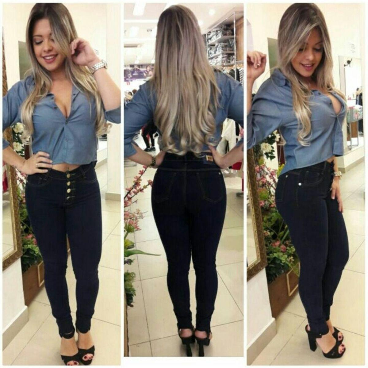 ae0094942 Calça Jeans Cintura Alta Hot Pants Montaria com 4 Botoes   Calça Feminina  Nunca Usado 17593730   enjoei