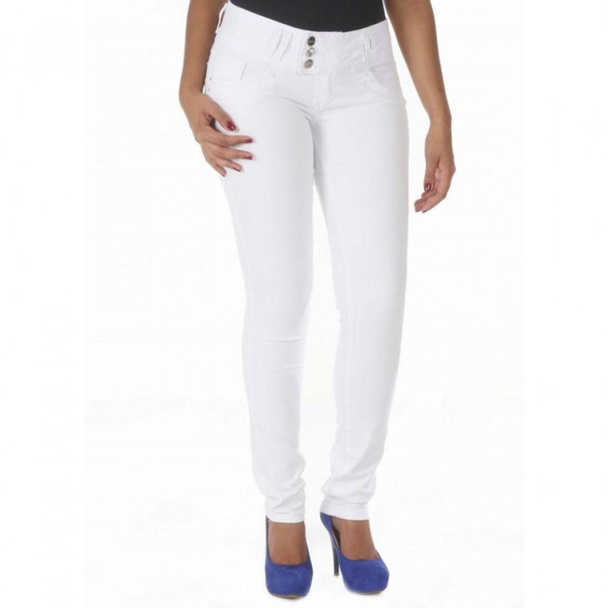013adb039b Calça Jeans Feminina Branca Levanta Bumbum - Sawary