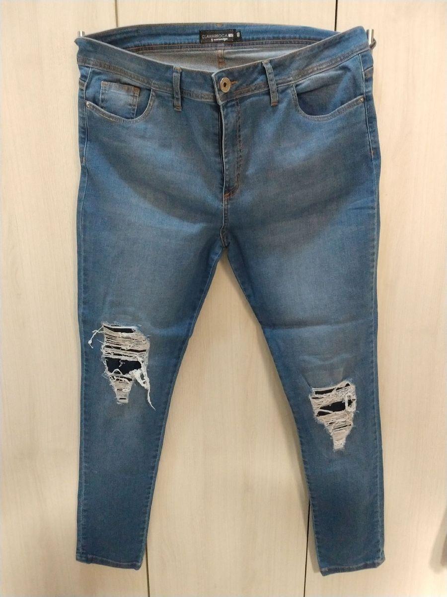 calça jeans plus dizer skinny destroyed - calças clamarroca