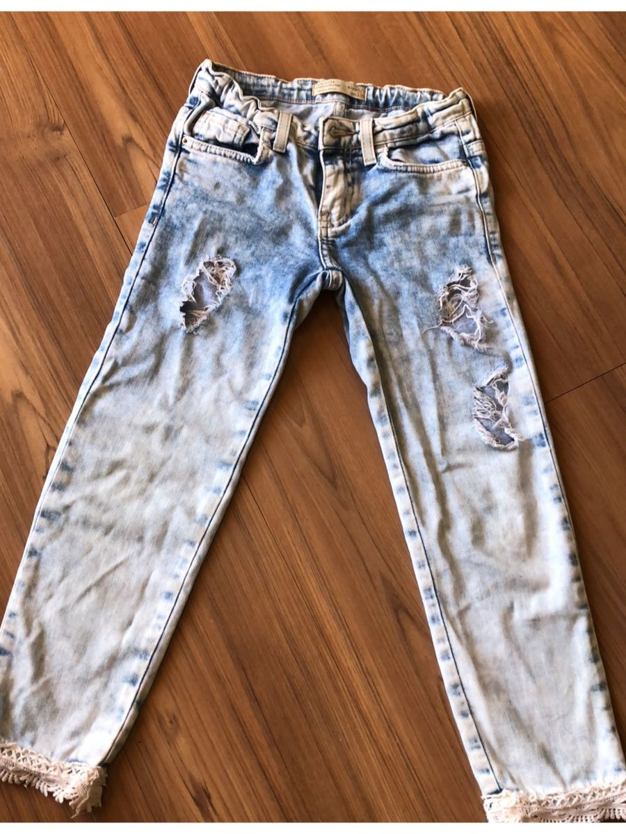 8ddcdcf01 Calça Jeans Rasgada Fashion Zara Roupa Infantil Para Menina Zara