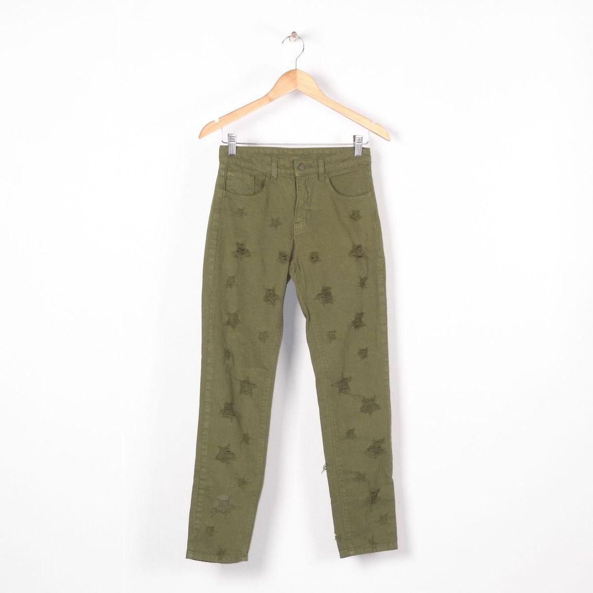 2cf8b599e9 Calça Jeans Verde Militar com Estrelas | Calça Feminina Farm Usado 30052946  | enjoei