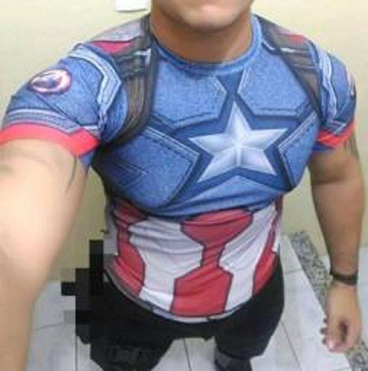 camisa 3d slim compressão nacional - capitão américa - camisetas importado 4f7e8c6d6a824