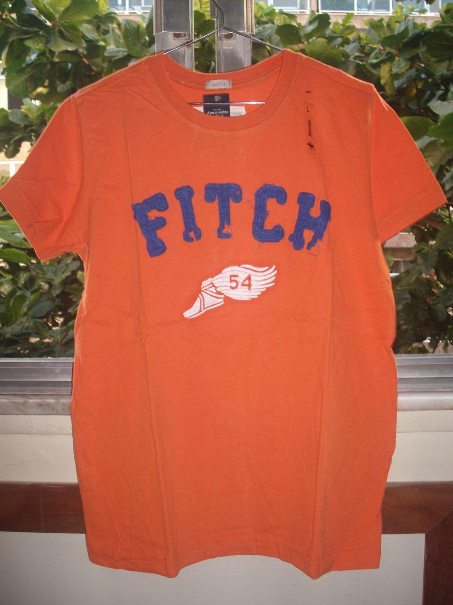 c815b7d7d4 camisa abercrombie fitch original masculina laranja muscle tamanho m  bordada pé de atleta - camisas abercrombie