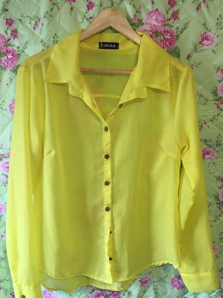 camisa amarela flúor - camisas sem-marca