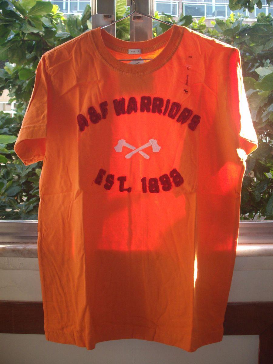8e352692ce camisa blusa abercrombie fitch original masculina muscle tam m laranja  estampa martelos - camisas abercrombie