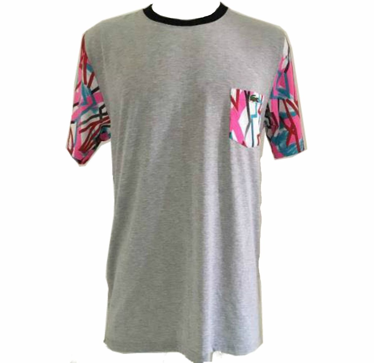 23191b894eb2f camisa camiseta lacoste live original com bolso cinza - camisas lacoste