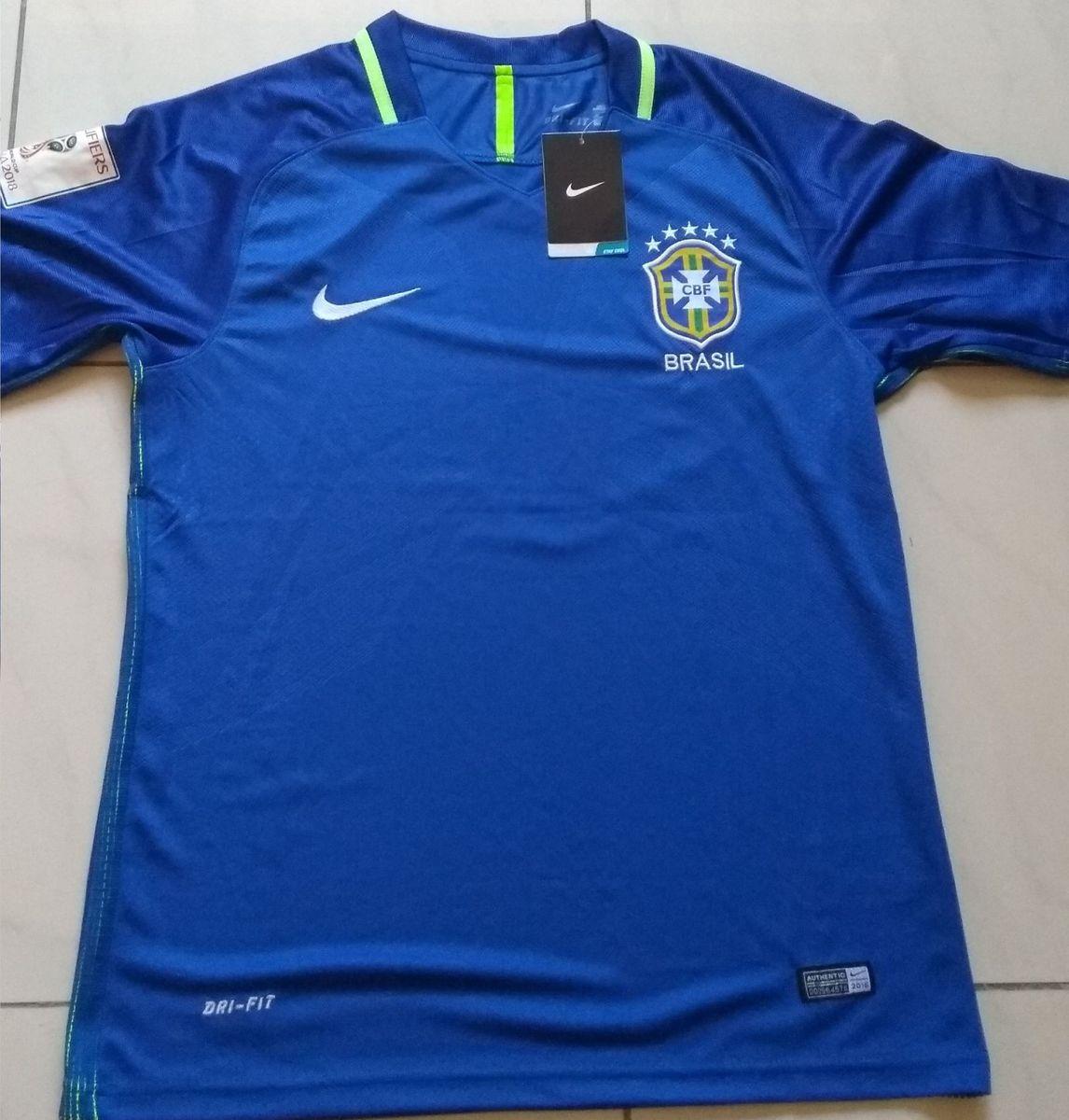 camisa cbf seleção brasileira original 2017 away azul + patchs copa do mundo  - esportes nike 8c173d909c8eb
