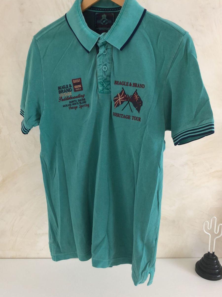 Camisa de Gola Polo Verde Estampada   Camisa Masculina Beagle Usado ... 8c8d3182f7