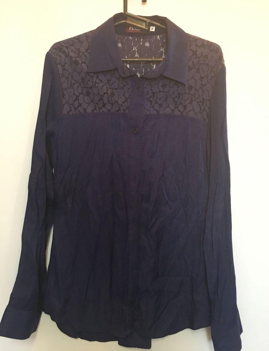 88cc9240bc camisa de seda e renda azul marinho - camisas pink connection