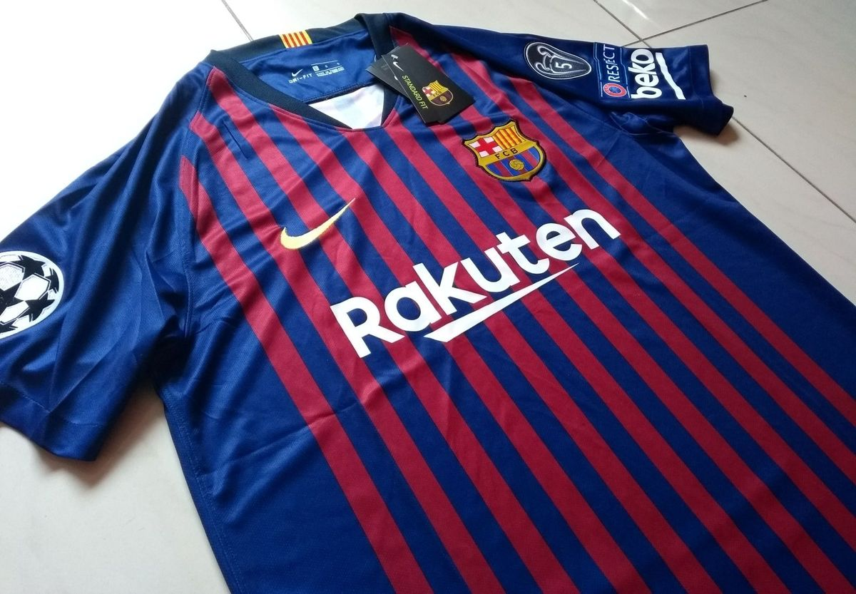 camisa fc barcelona original 2018 19 home + patchs champions league - camisas  nike ae340aa9c763e
