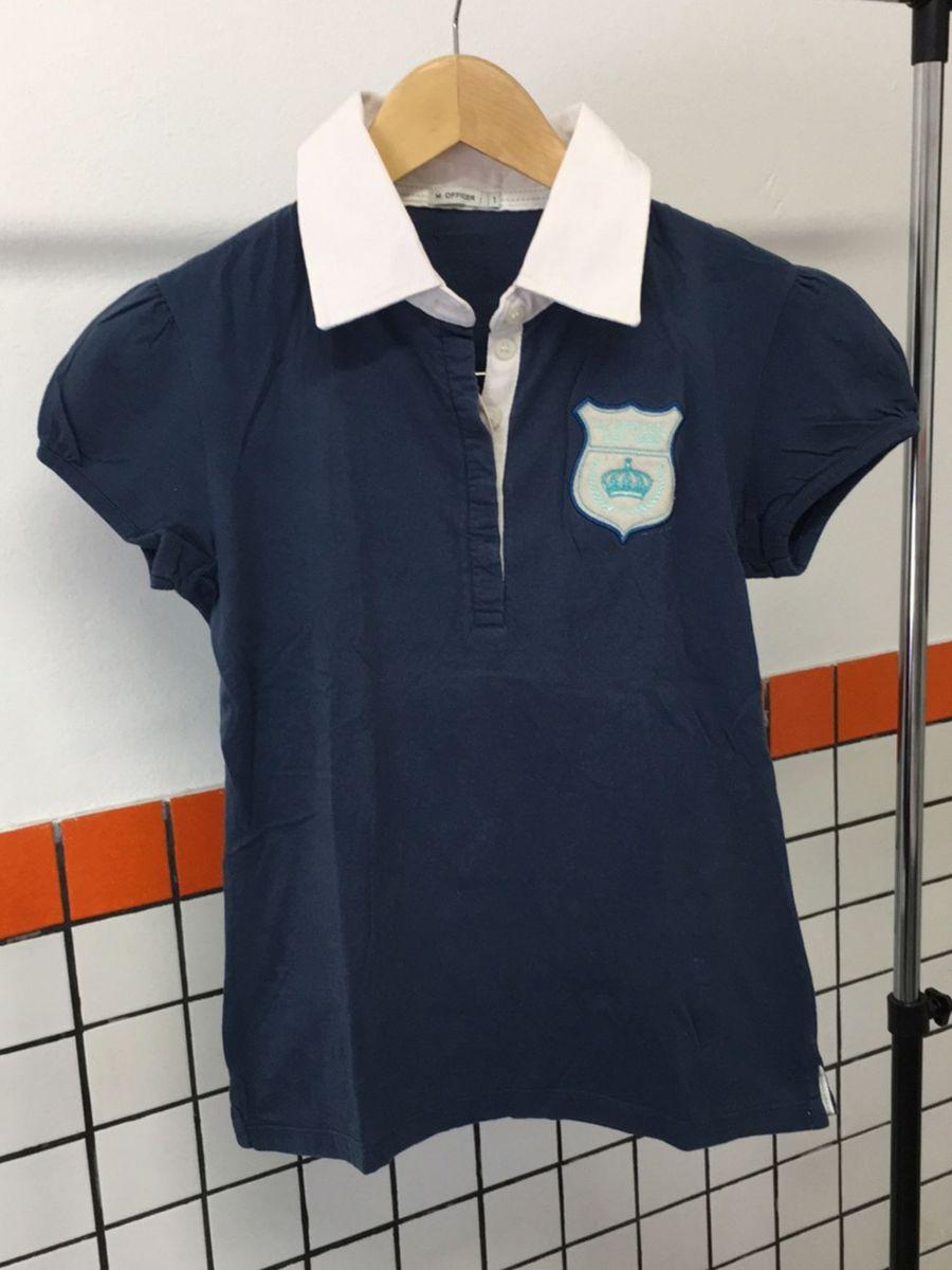 camisa gola polo feminina mofficer p - feminino b - blusas mofficer 5410a68cbba32