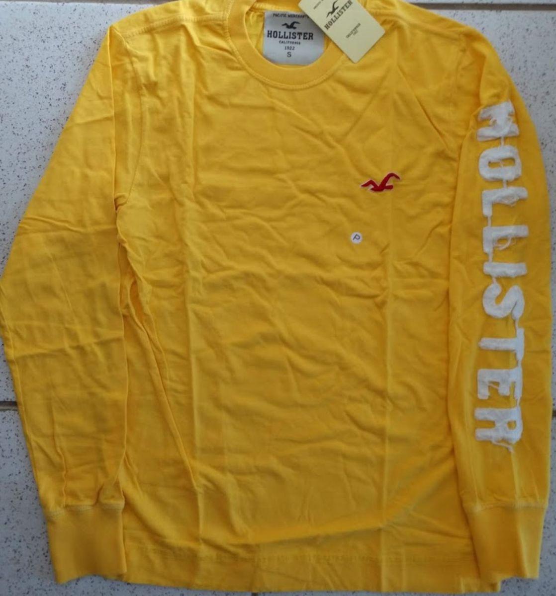 06f3b89f0e camisa hollister amarelo manga longa tam p - camisas hollister