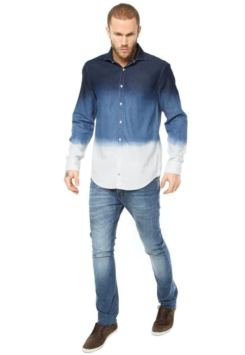 b658ddf911 camisa jeans tommy hilfiger - modern azul com lavagem degradê - camisas  tommy hilfiger