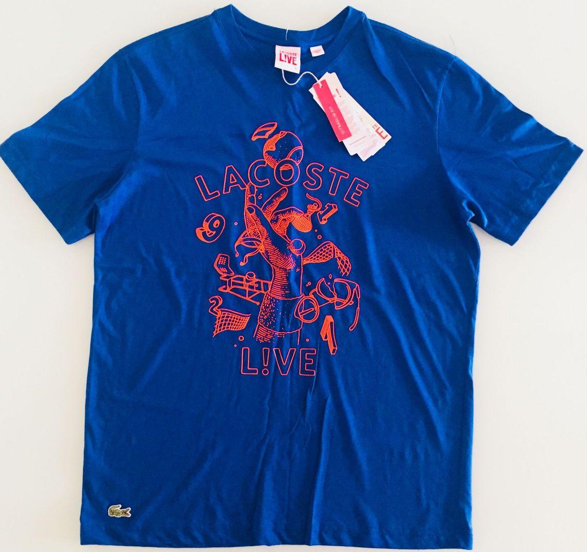 5c5bfcca0913f Camisa Lacoste Live Original Masculina Tam M Azul   Camisa Masculina ...