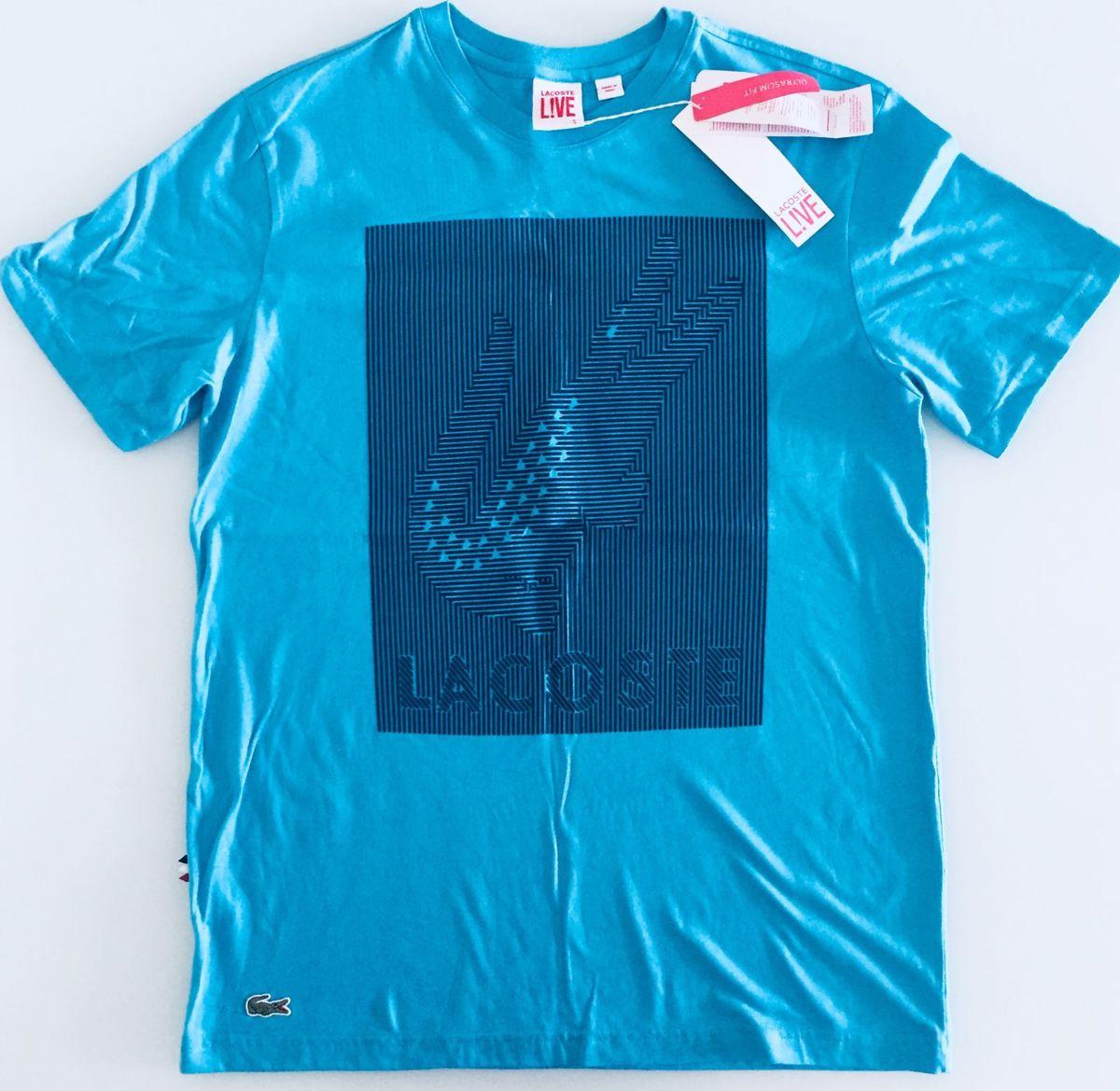f287a89d221b7 camisa lacoste original masculina azul jacaré tam m - camisas lacoste