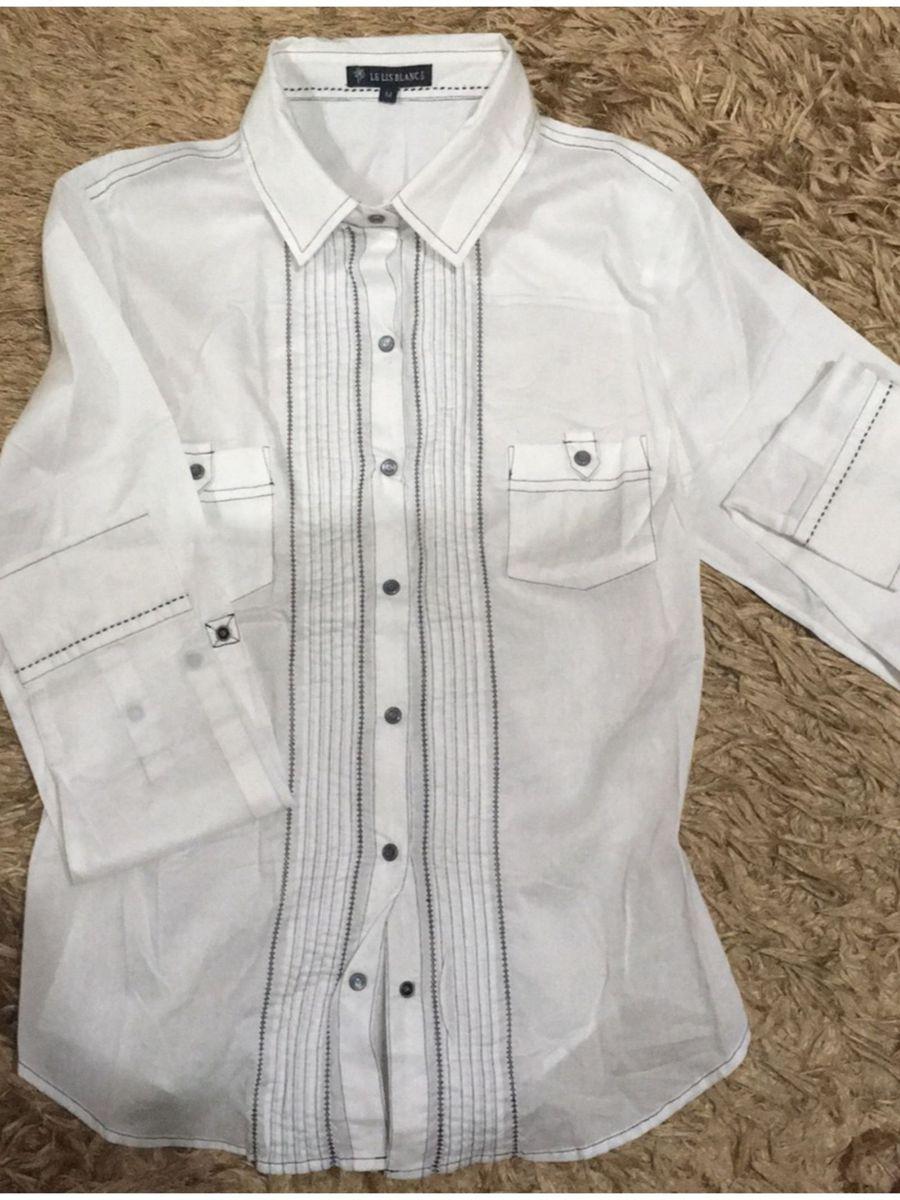 5f8a3a122 camisa lelisblanc nova - original - branca - 100% algodão manga longa  bolsos frontais acinturada