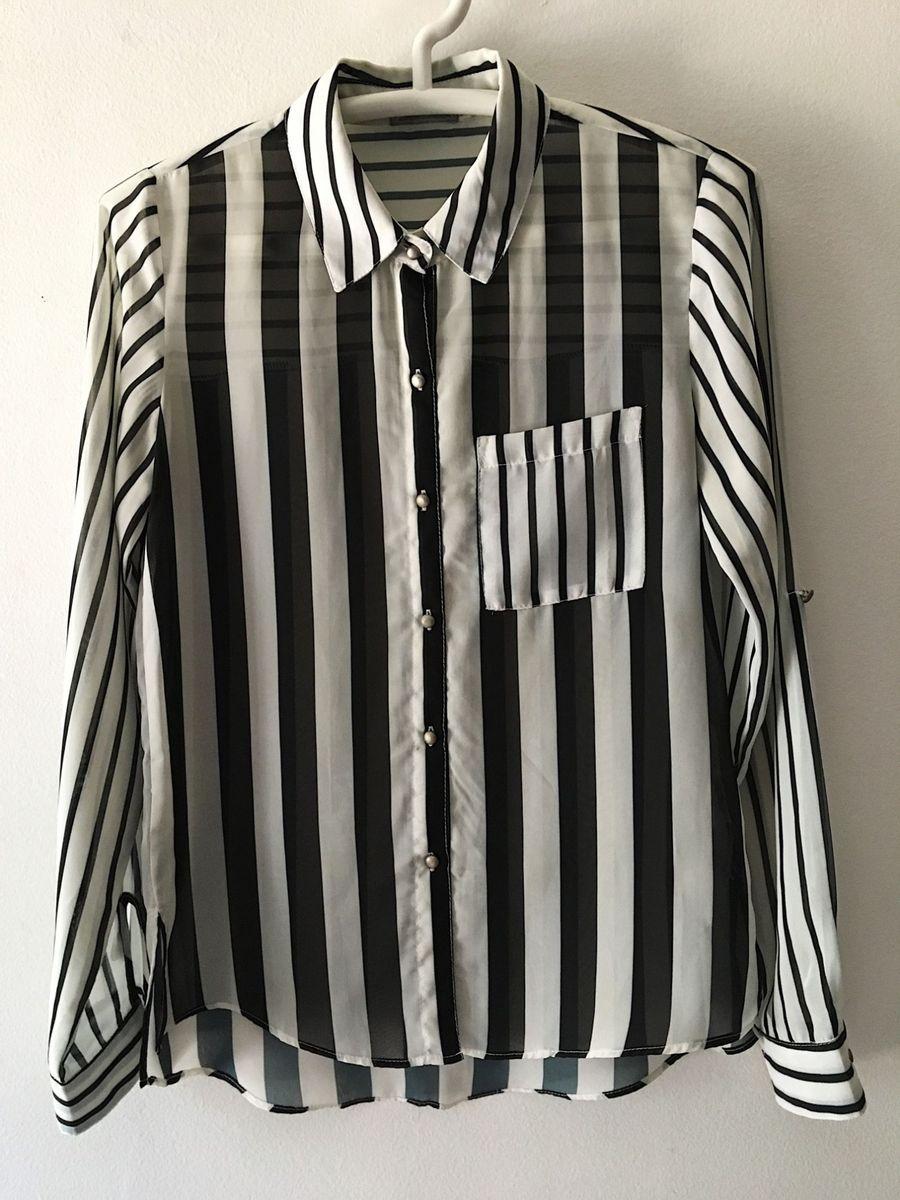 71951637b5 camisa listrada preta e branca p amp b - camisas sem marca