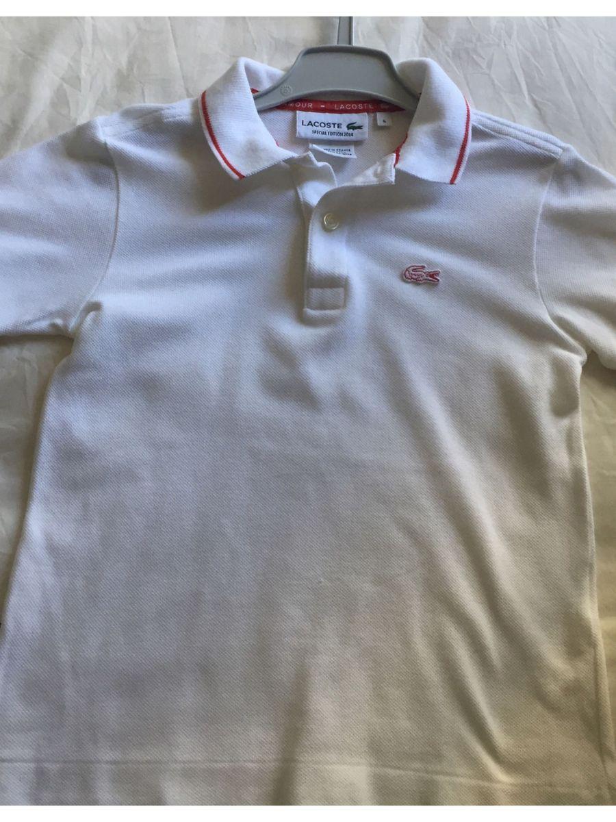 bb607468a047d camisa malha piquet marca lacoste tamanho 6 - menino lacoste
