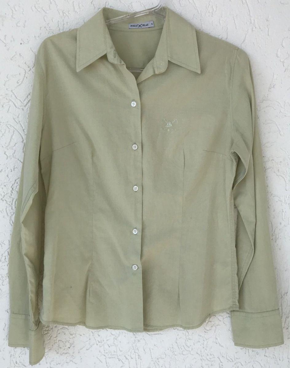 cfea5609eb592 camisa manga longa cor  verde claro marca  polo play - camisas polo-play