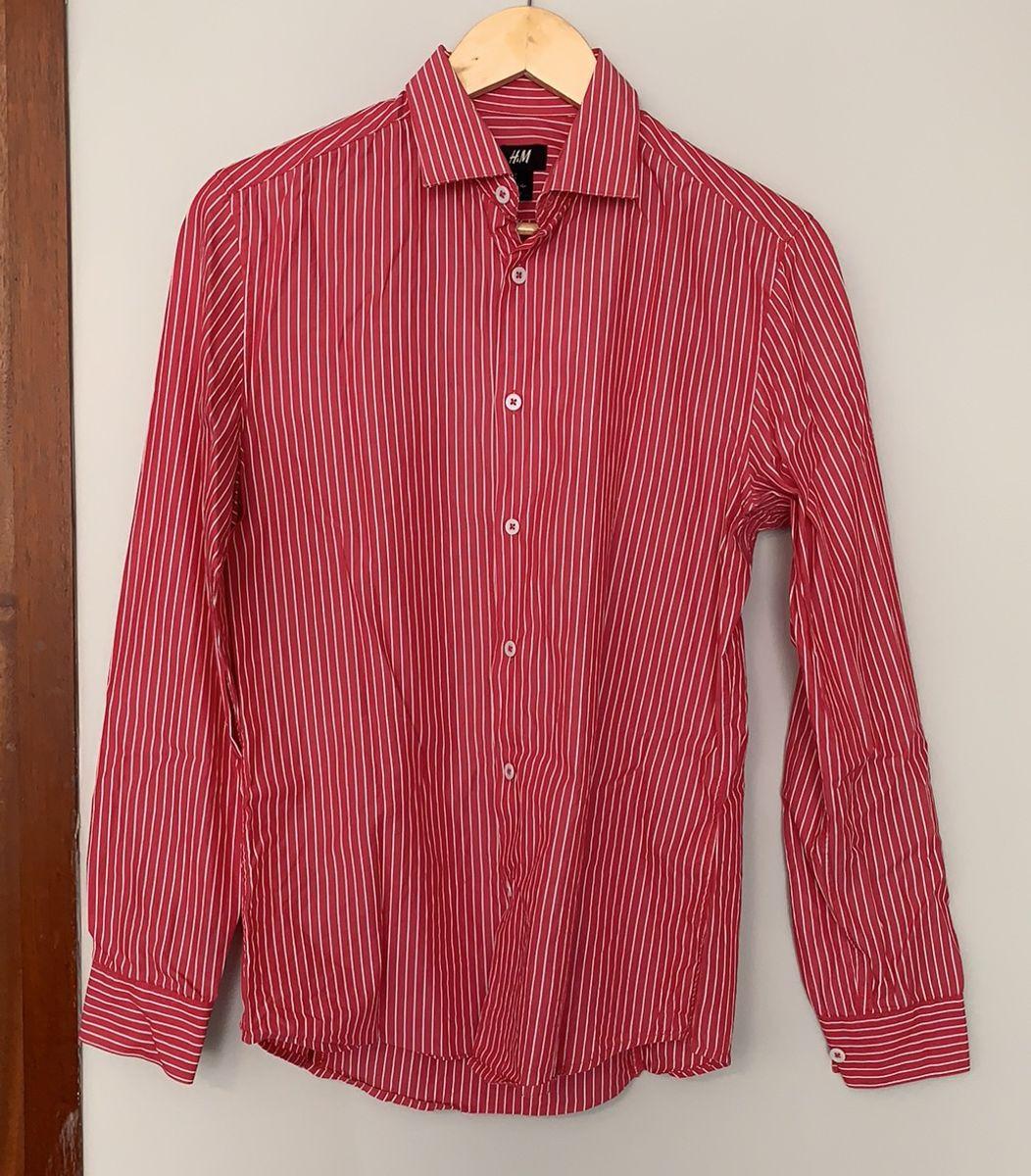 camisa manga longa listrada h&m - camisas h&m