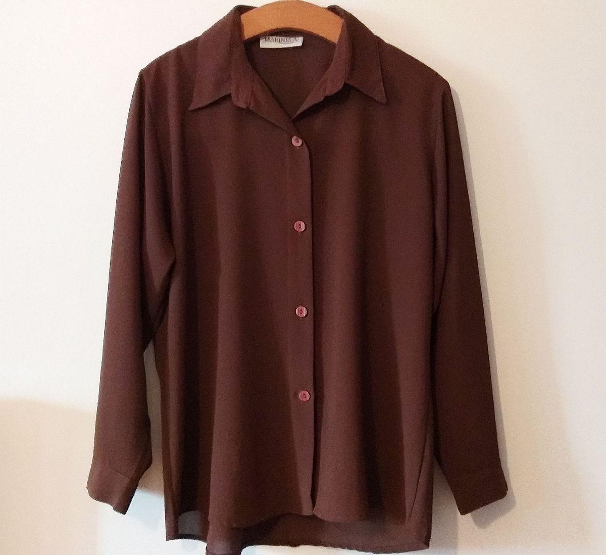 camisa marrom manga longa, marinela. - camisas marinela