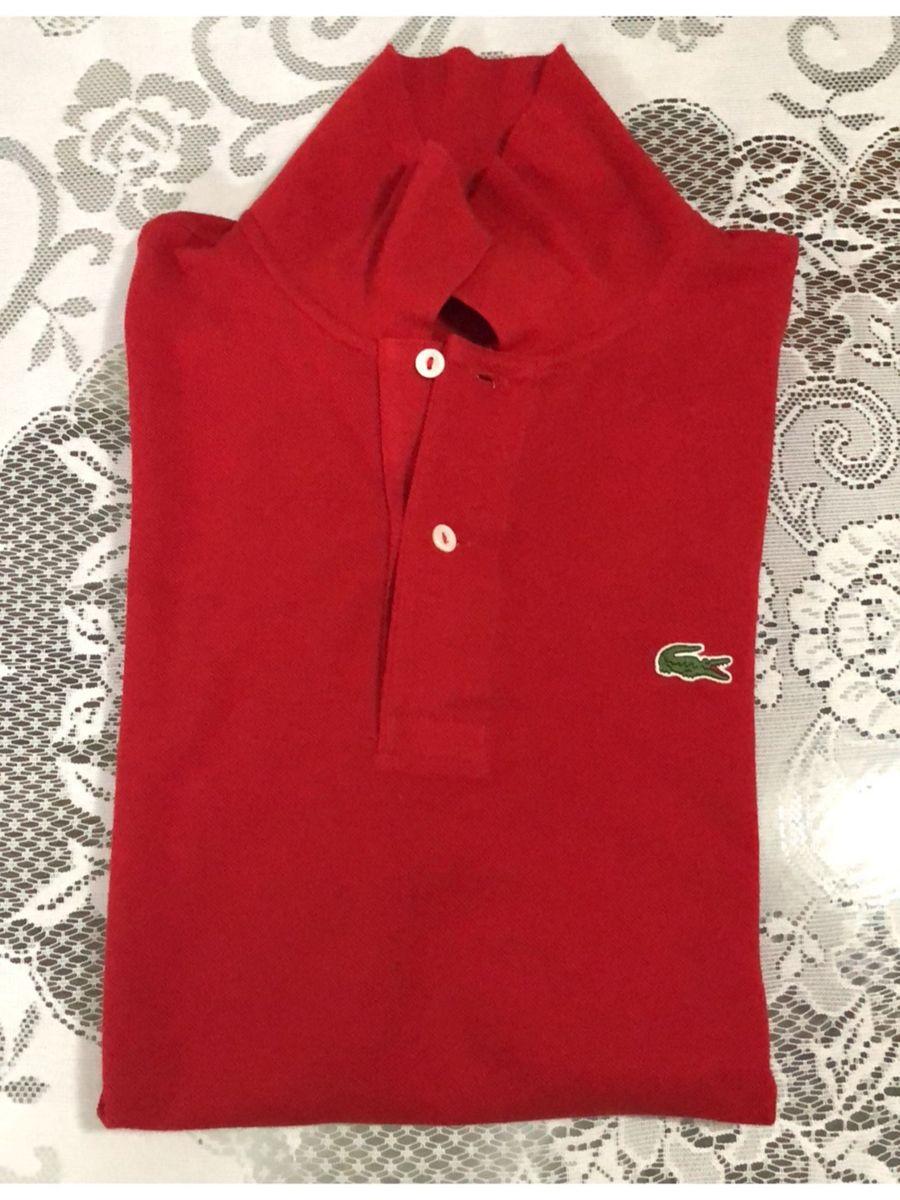 Camisa Original Polo Vermelha Lacoste G (tam 5)   Camisa Masculina ... c565401275