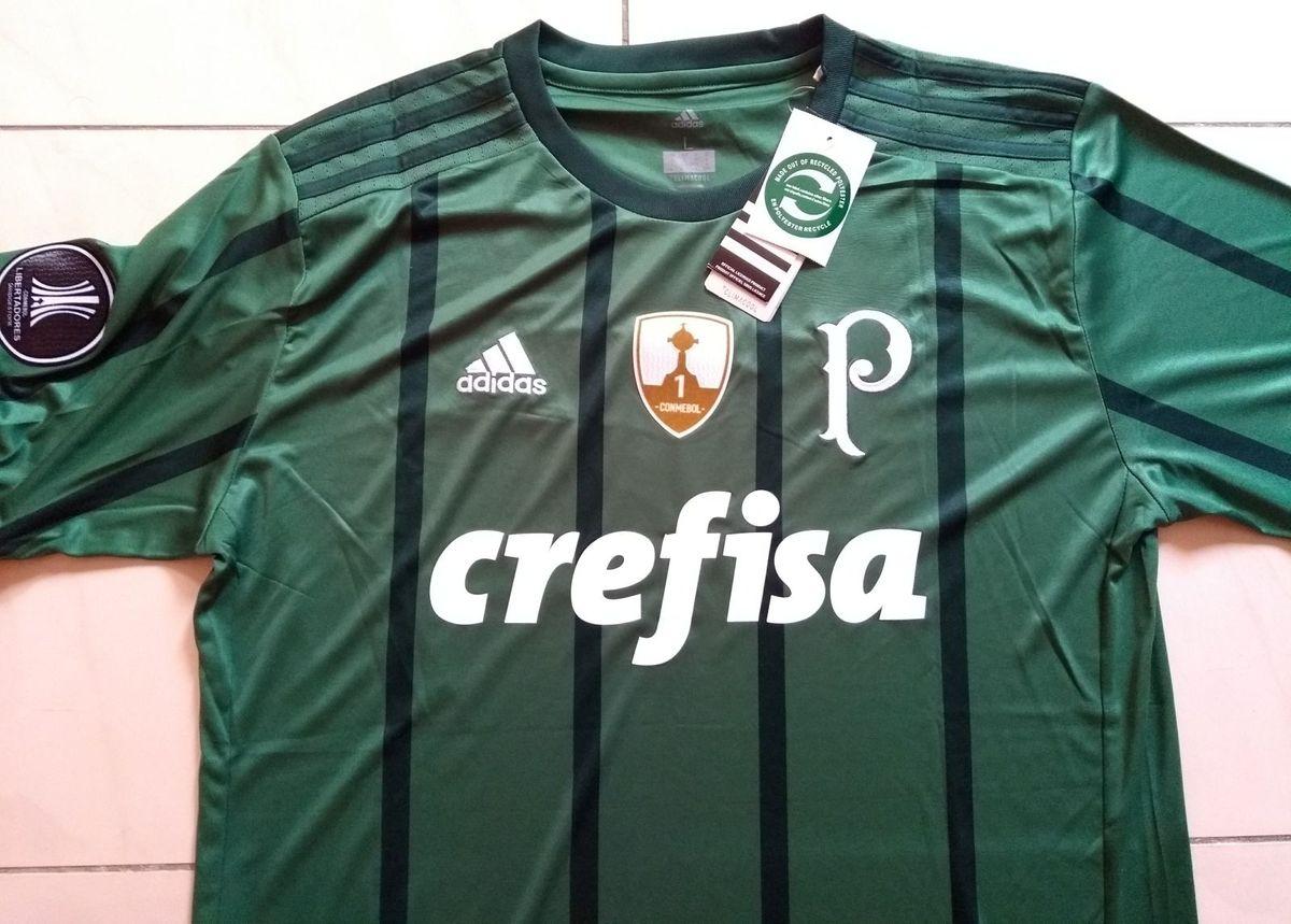 f02fab5ee1 Camisa Palmeiras Original 2017 Home Verde Patchs Libertadores L-6 Camisas