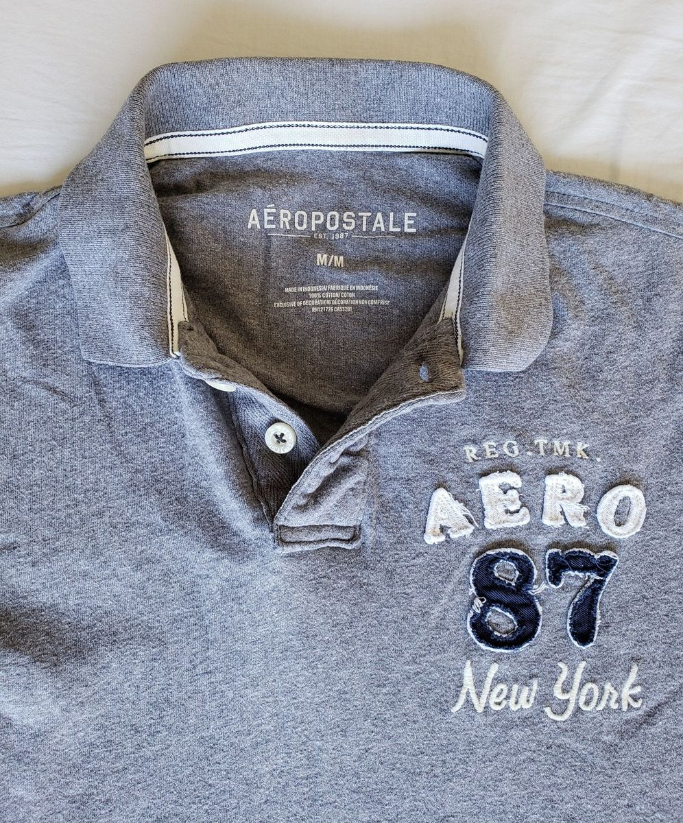 6c1d377589 Camisa Polo Aeropostale Cinza | Camisa Masculina Aeropostale Usado ...