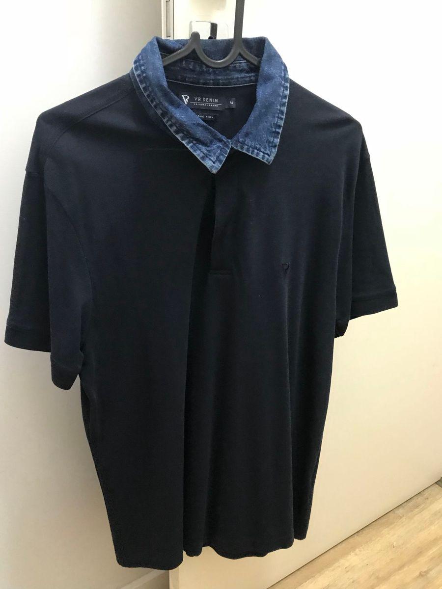 30bf9bb911 camisa polo azul marinho gola jeans da marca vr tamanho m - camisas vr
