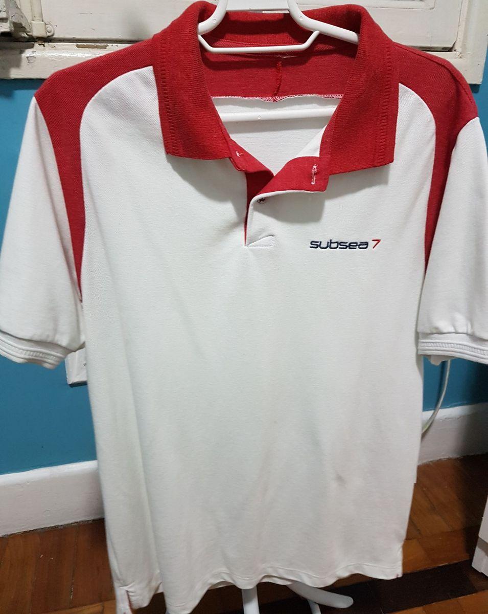 ad3fb22cc1 camisa polo branca com detalhes em vermelho - camisas sem marca