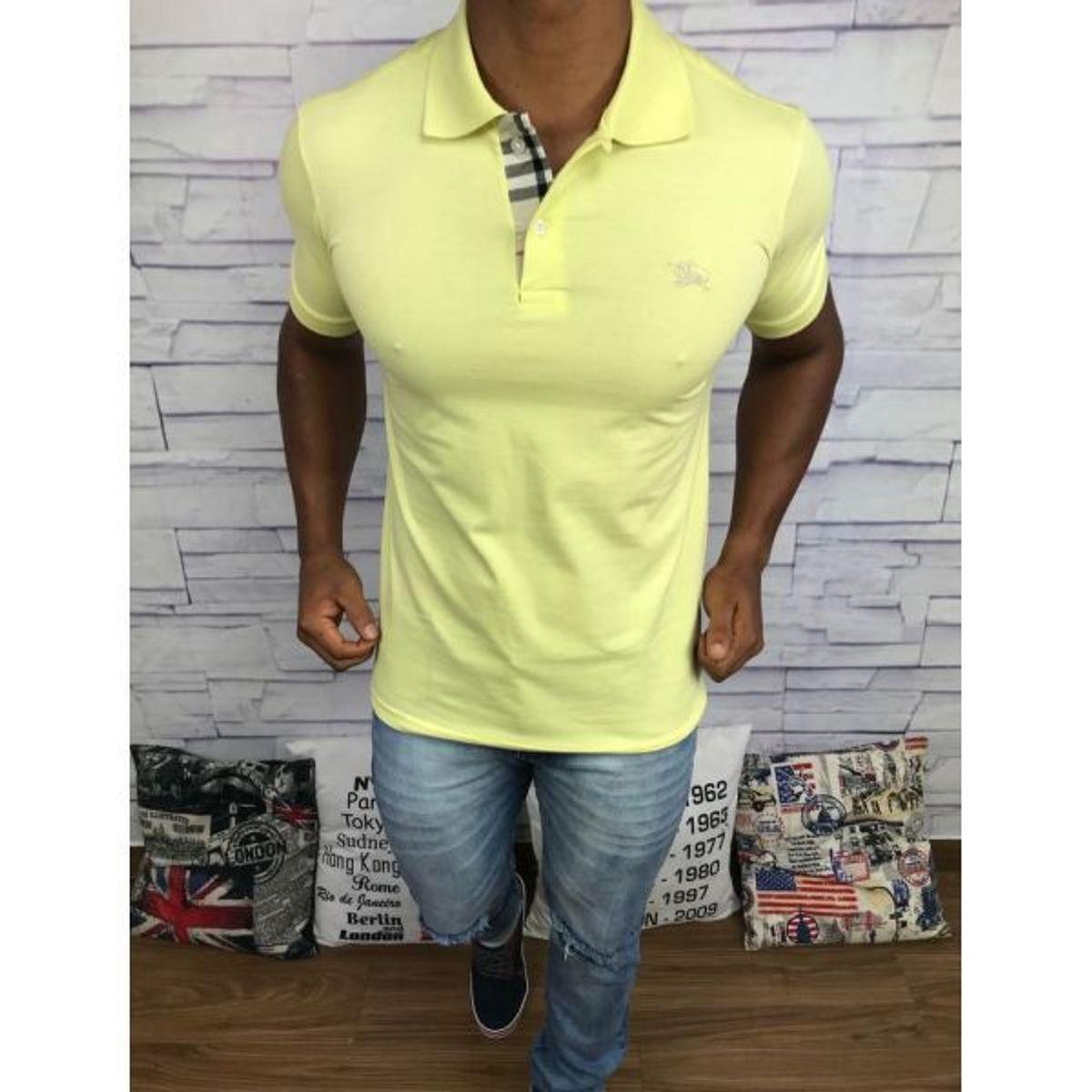 a7611e7e73 camisa masculina polo burberry amarela - camisas burberry