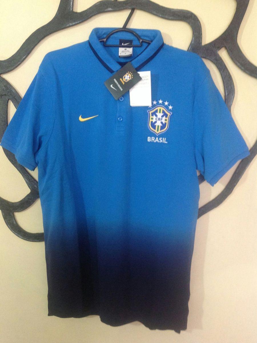 Camisa Pólo da Seleção Brasileira Azul Mesclada Original  b71923566ab3a