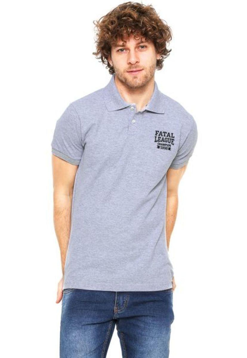 camisa polo fatal surf piquet estampada cinza - camisas fatal surf 6a167ea1d73